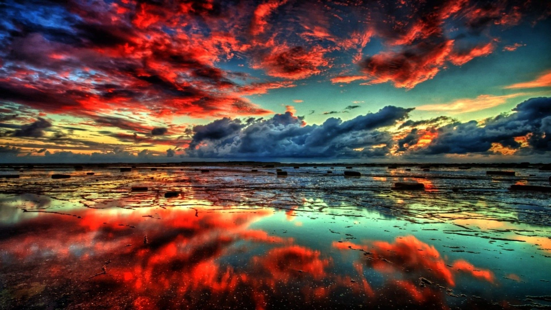 Картина раскраска по номерам 40x50 Красный закат над водой ...
