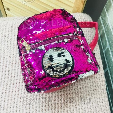 Рюкзак с пайетками с двусторонними пайетками нашивкой Смайлик меняет цвет Фуксия-Серебристый