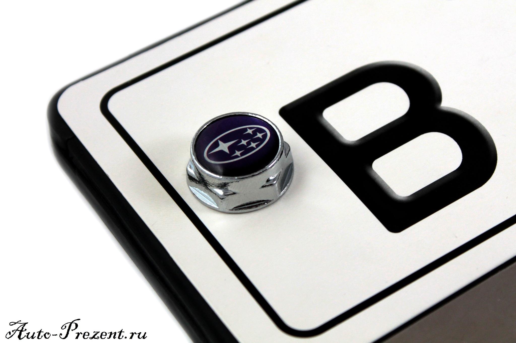 Болты для крепления госномера с логотипом SUBARU