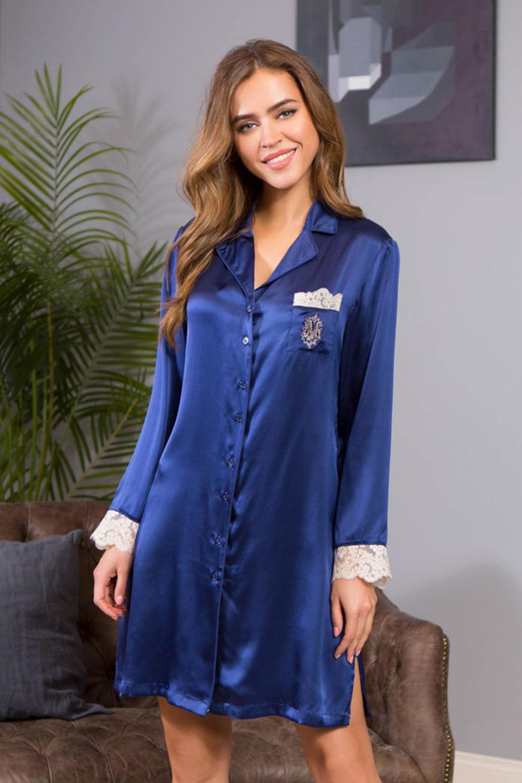 Шелковая рубашка женская для дома и отдыха синяя (Ночные сорочки)