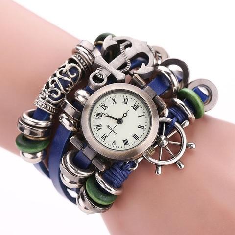 Часы-браслет с якорем и штурвалом (синий)
