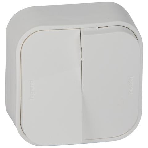 Выключатель двухклавишный - 10 AX - 250 В~. Цвет Белый. Legrand Quteo (Легранд Кутео). 782202