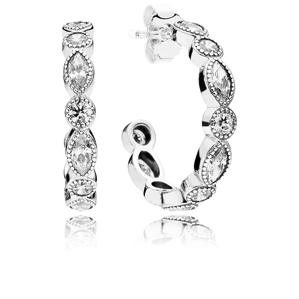 Alluring Briliant Marquise Hoop Earrings