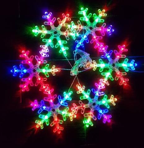 Гирлянда снежинки шесть штук LED