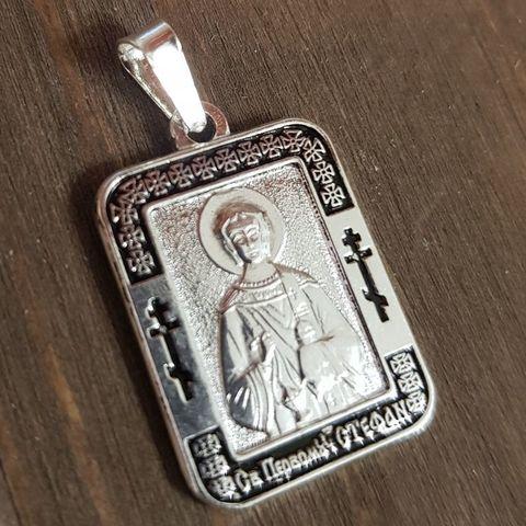 Нательная именная икона святой Стефан с серебрением кулон с молитвой