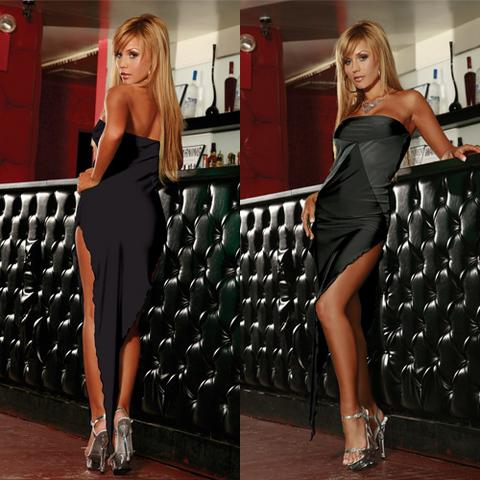 Черное платье-бандо SEXY CORNER. CL081