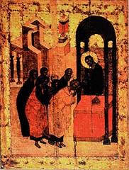 Причащение хлебом (Преподание хлеба апостолам). Икона на дереве.