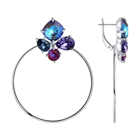 94023888 - Серьги из серебра с голубыми кристаллами Swarovski