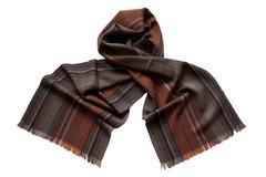 Шарф из шелка и шерсти серо-коричневый 01481