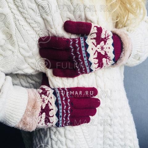 Перчатки с оленями шерстяные (Цвет: бордовый)