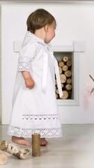 Рубашка на крещение  с капюшоном  Ажурная