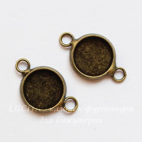 Сеттинг - основа - коннектор (1-1) для кабошона 10 мм (цвет - античная бронза) ()