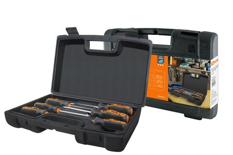 Набор отверток 6 шт.: SL:3x75;5x100;6x100, PH:0х75;1x100;2x100 (пласт. чемодан), CR-V