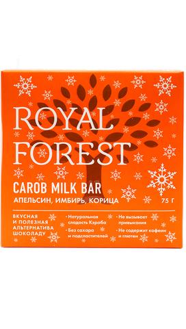 Шоколад из кэроба с апельсином, имбирем и корицей 75 г, Royal-forest