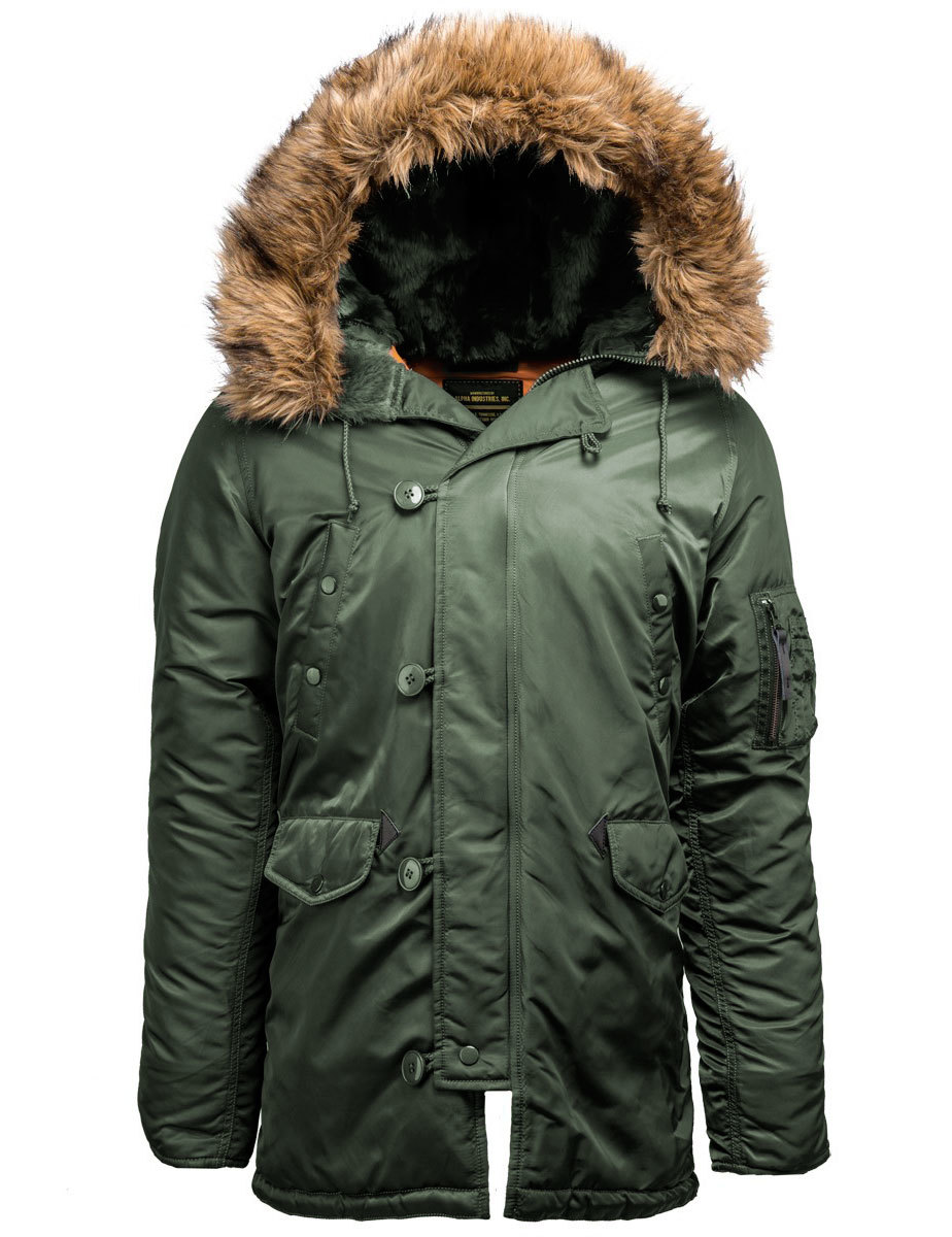 Куртка Аляска Alpha Slim Fit N-3B Parka (оливковая - s.green/orange)