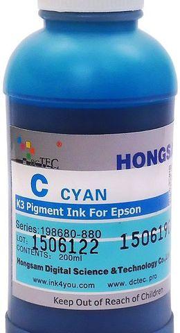 Чернила пигментные DCTec 7880P/200 -  UltraChrome Epson 7880/9880 cyan (голубой) 200 мл. Серия 198680-880
