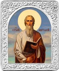 Святой Матфей. Маленькая икона в серебряной раме.