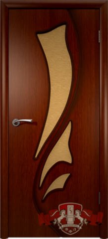 Дверь Владимирская фабрика дверей Лилия 5ДО2, стекло бронза художественное, цвет макоре, остекленная