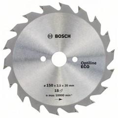 Диск по дереву Bosch 150х2,5х20/16 мм Optiline ECO Z18