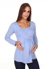 Мамаландия. Лонгслив для беременных и кормящих, меланж голубой