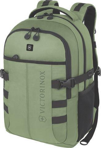 Качественный с гарантией прочный рюкзак зелёный объёмом 20 л из полиэстера 900D с отделением для ноутбука или планшета диагональю 16'' и наружными карманом для бутылки или зонтика VICTORINOX VX Sport Cadet 16'' 31105006