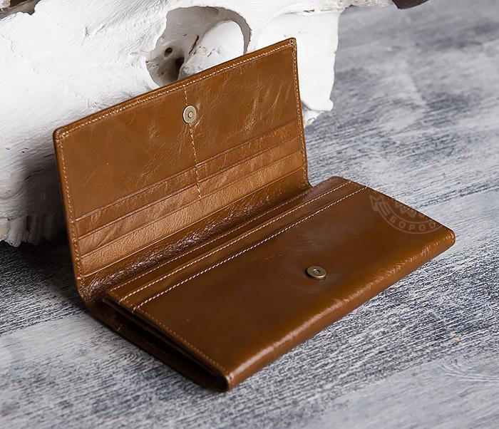 WL294-2 Компактный мужской клатч из кожи коричневого цвета фото 03