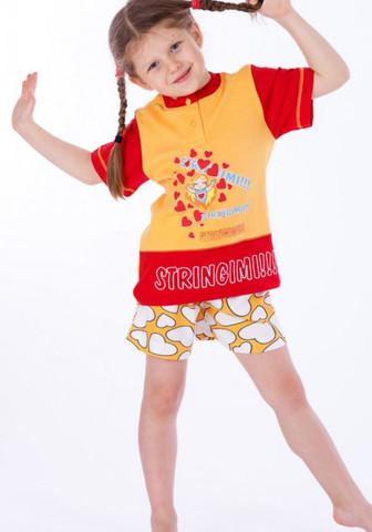 Яркая футболка и шорты с сердечками для девочки