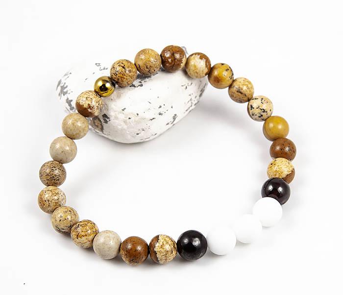 Boroda Design, Мужской браслет из натуральной яшмы и агата