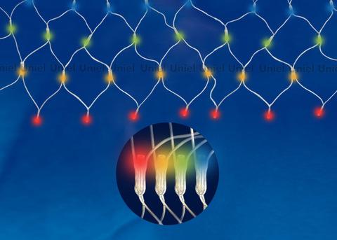 ULD-N4207-320/DTA MULTI IP20 Сетка светодиодная, 4,2х0,75 м, 320 led, разноцветная, с контроллером, провод прозрачный, IP20