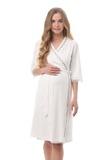 Комплект для беременных и кормящих с халатом и сорочкой 10651 кремовый
