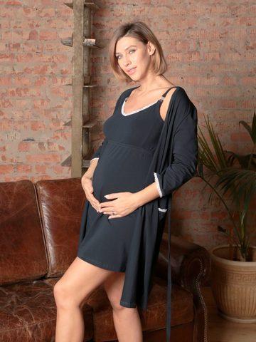 Евромама. Комплект для беременных и кормящих с рукавами 3/4, темно-синий