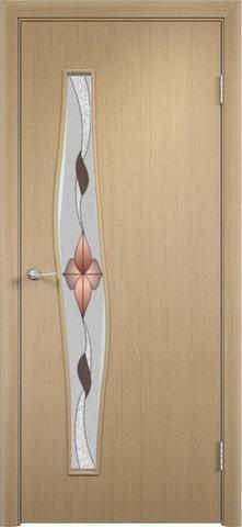 Дверь Верда Волна стекло Сара, художественное стекло Сара, цвет беленый дуб, остекленная