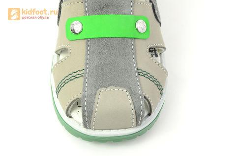 Детские сандалии Котофей 422056-22 из натуральной кожи, для мальчика, серые. Изображение 12 из 16.
