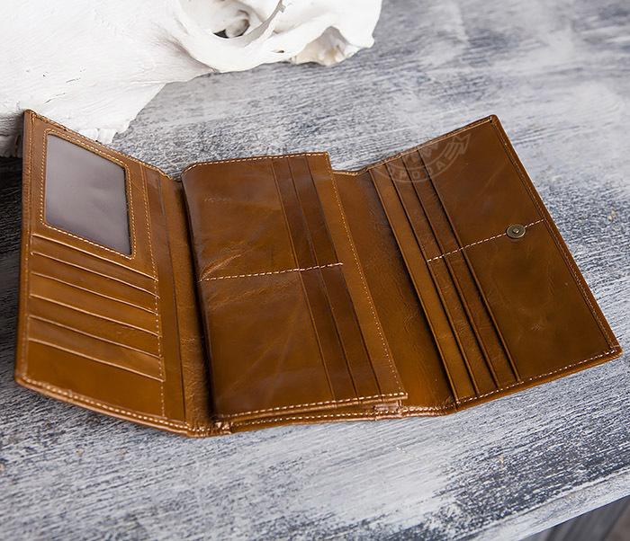 WL294-2 Компактный мужской клатч из кожи коричневого цвета фото 05