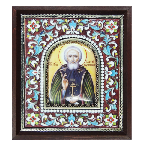 Икона финифть  прп. Сергий Радонежский