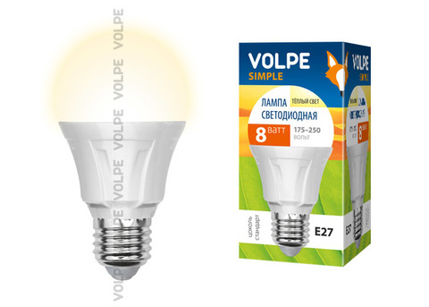 LED-A60-8W/WW/E27/FR/S Лампа светодиодная Volpe. Форма