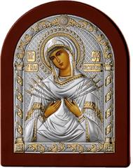 Серебряная икона Богоматерь Семистрельная (прозрачный лак, повышенное качество!)