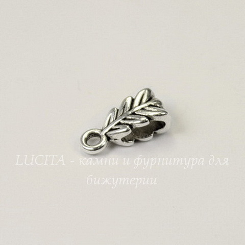 "Бейл ""Листик"" 13х6х4 мм (цвет - античное серебро)"