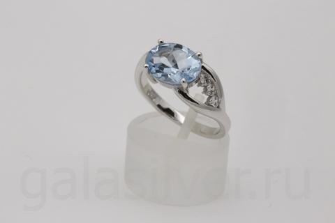 Кольцо с топазом и фианитом из серебра 925