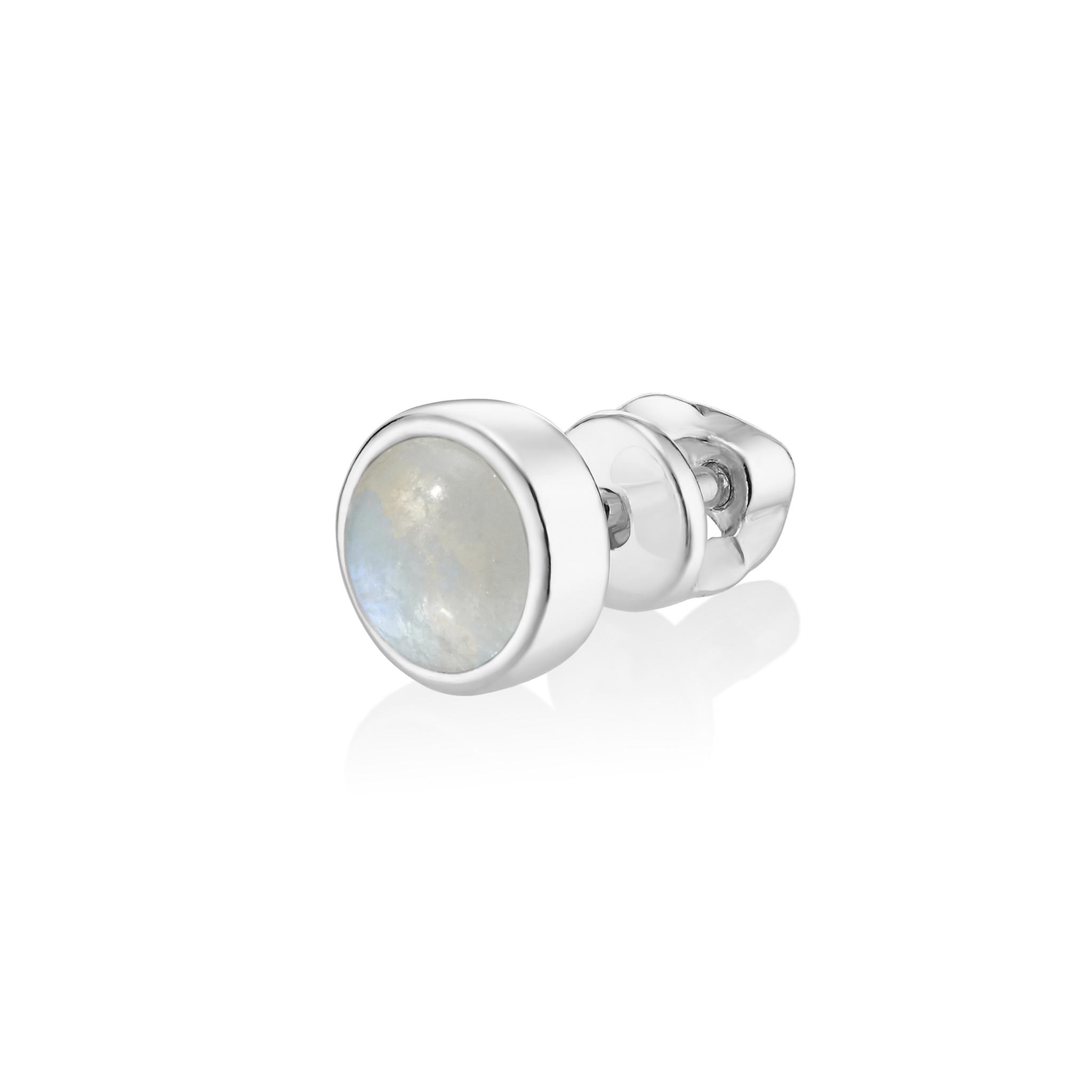 Моносерьга ALPHA - Лунный камень (закрутка)