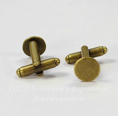 Основа для запонок с площадкой 10 мм (цвет - античная бронза), 18х18 мм, ПАРА