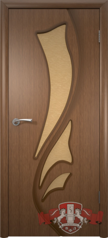 Дверь Владимирская фабрика дверей Лилия 5ДО3, стекло бронза художественное, цвет орех, остекленная
