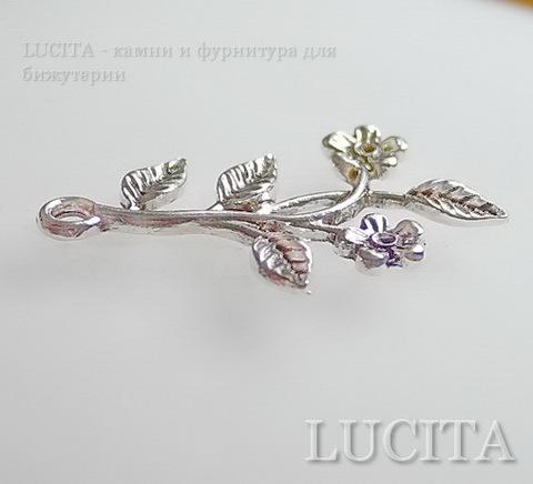 """Подвеска  """"Веточка с цветами"""" (цвет - античное серебро) 40х27 мм ()"""