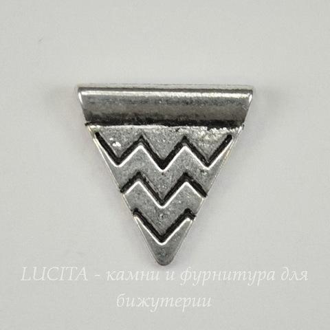 """Бусина металлическая """"Треугольник"""" (цвет - античное серебро ) 14х14 мм"""