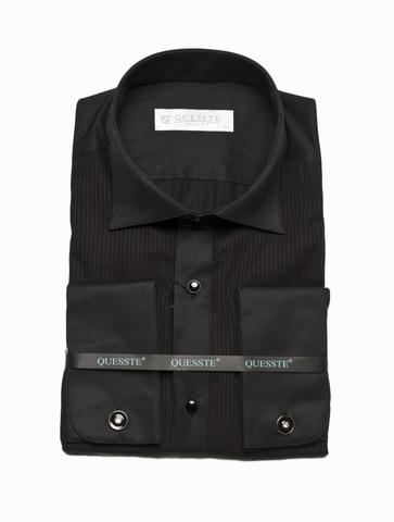 Сорочка Quesste под бабочку черная складки на груди