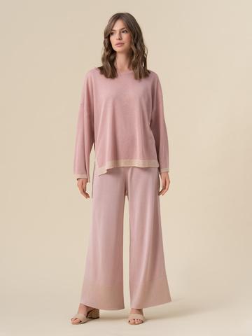 Женский свободный джемпер светло-розового цвета из вискозы - фото 3