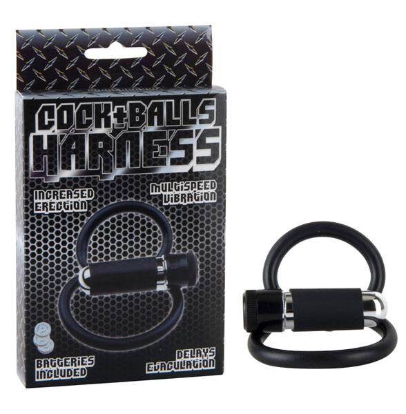 Эрекционные кольца: Черное двойное эрекционное кольцо COCK+BALLS HARNESS W. MULTISPEED BULLET