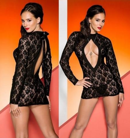 Гипюровое эротическое платье Rayen черное