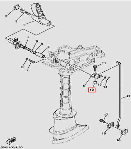 Втулка 10X6X12.1 для лодочного мотора F5 Sea-PRO(15-10)