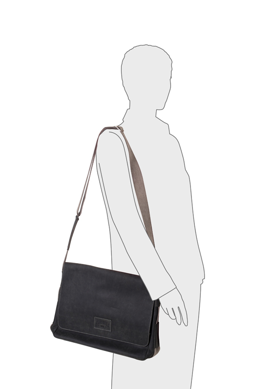 Наплечная сумка Klondike Native, цвет чёрный, телячья кожа, 39х31х10 см. (KD1125-01) - Wenger-Victorinox.Ru